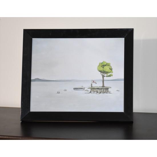 Cadre 11.5 x 9.5 pouces «L'île au bateau» de Marie-Sol St-Onge