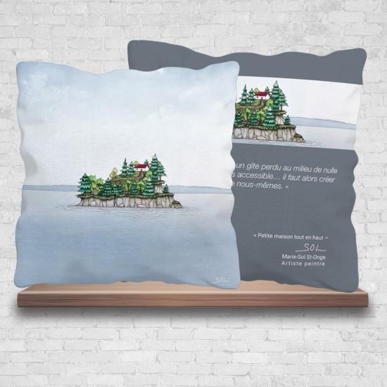 """Coussin """"Petite maison tout en haut"""" de l'artiste peintre Marie-Sol St-Onge"""