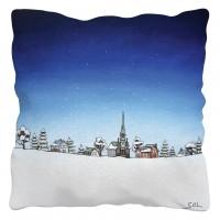 """Coussin """"En route vers un Noël blanc"""" de l'artiste peintre Marie-Sol St-Onge"""