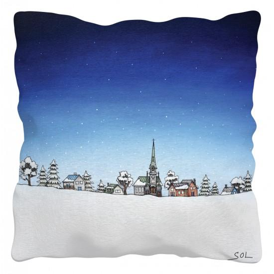 """Coussin """"En route vers un Noël blanc"""" de Marie-Sol St-Onge"""