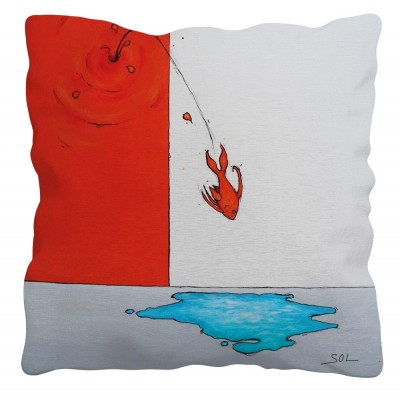 """Coussin """"Le plongeon"""" de l'artiste peintre Marie-Sol St-Onge"""