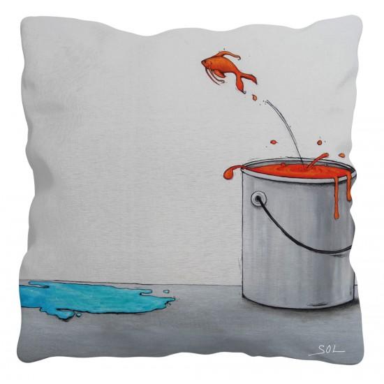 """Coussin """"Le saut"""" de l'artiste peintre Marie-Sol St-Onge"""