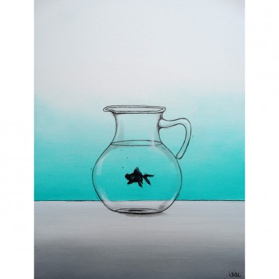 """Reproduction de la toile """"Le poisson noir"""" de Marie-Sol St-Onge"""