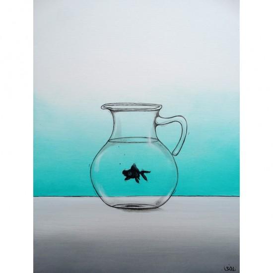 """Oeuvre originale """"Le poisson noir"""" de Marie-Sol St-Onge"""