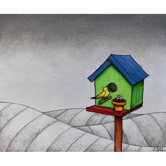 """Reproduction de la toile """"La cabane à oiseaux"""" de Marie-Sol St-Onge"""
