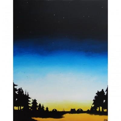 """Reproduction de la toile """"Feu de camp au crépuscule"""" de Marie-Sol St-Onge"""