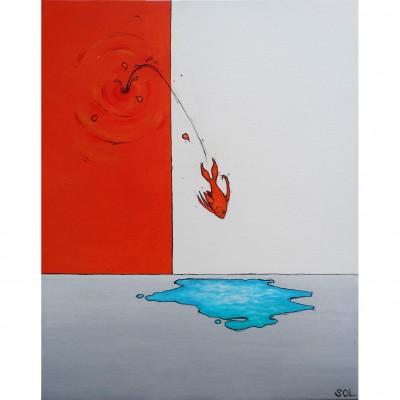 """Reproduction de la toile """"Le plongeon"""" de Marie-Sol St-Onge"""