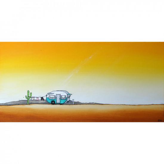 """Reproduction de la toile """"Roulotte sous le soleil"""" de Marie-Sol St-Onge"""
